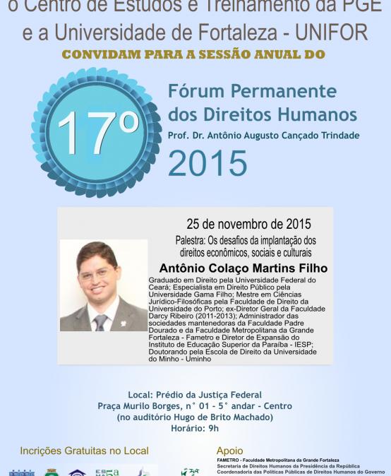 17 Fórum Permanente dos Direitos Humanos (25 de novembro de 2015)